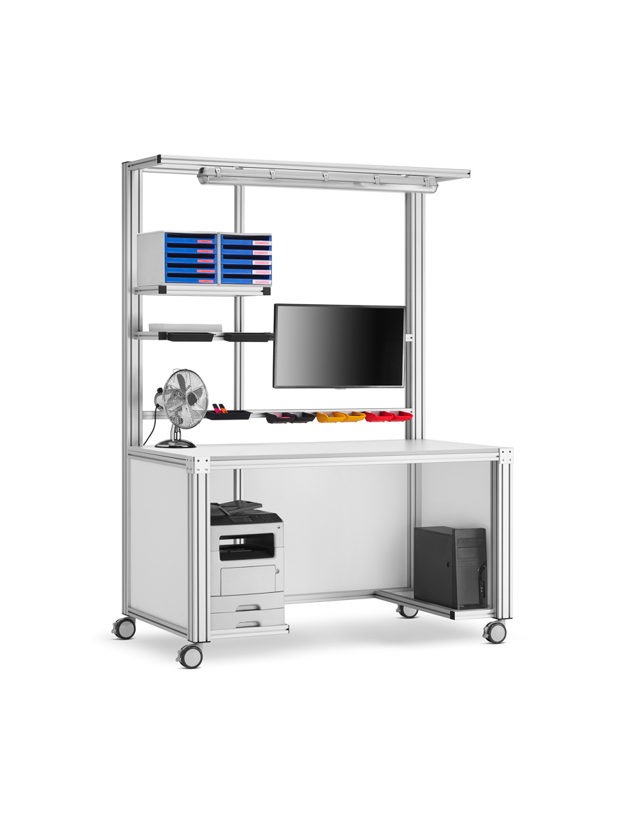 mobile Workstation aus Aluminiumprofil mit Equipment - bwz Profiltechnik